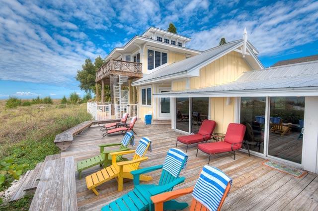 big yellow house porch